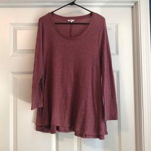 Crop sleeve sweater